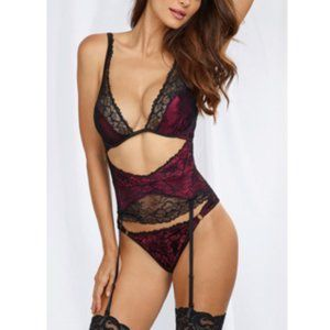 NWT - Dreamgirls Raspberry Satin and Black Teddy